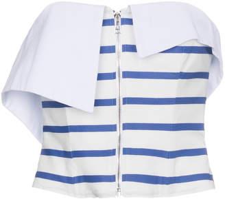 Natasha Zinko strapless stripe zip top white