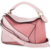 Loewe Puzzle Colorblock Leather Satchel Bag, Pink/Multi