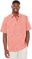 Cubavera Short Sleeve Floral Jacquard Pocket Shirt