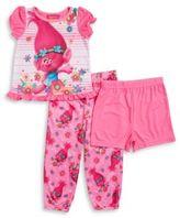 AME Sleepwear Girls Three-Piece Little Trolls Pajama Set