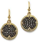 Armenta Blackened Sterling Silver & 18K Yellow Gold Old World Champagne Diamond Carved Disc Earrings