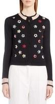 Fendi Studded Floral Cashmere & Silk Cardigan