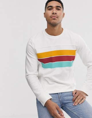 Jack and Jones Originals sweat with printed colour panel detail in white