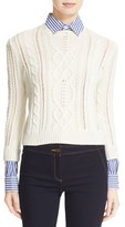 Veronica Beard Women's Surrey Sweater With Detachable Collar & Cuffs