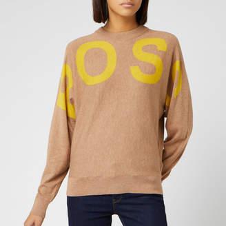 BOSS Women's Walci Logo Crew Neck Knitted Jumper
