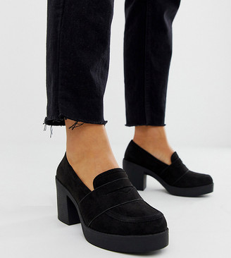 ASOS DESIGN Wide Fit Script chunky loafers in black