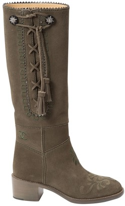 Chanel \N Green Suede Boots
