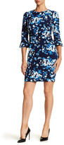 Donna Morgan 3/4 Length Sleeve Floral Print Crepe Shift Dress
