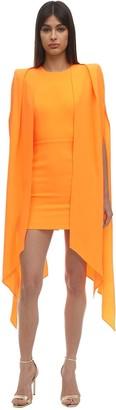 Alex Perry Envers Satin Crepe Mini Dress W/ Cape