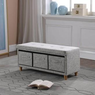 Ebern Designs Alcazar Upholstered Drawer Storage Bench Upholstery: Gray