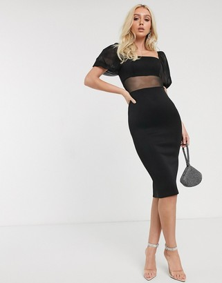 ASOS DESIGN mesh insert puff sleeve bodycon midi dress