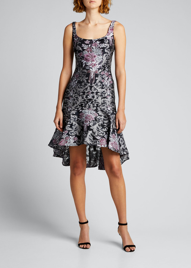 Marchesa Notte Square-Neck High-Low Damask Fil Coupe Dress