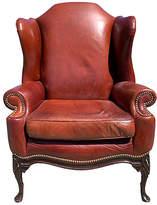 One Kings Lane Vintage Leather Wingback Chair - Fleur de Lex Antiques - oxblood/reddish brown