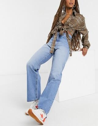 Dr. Denim Echo high waist wide leg jeans in mid blue