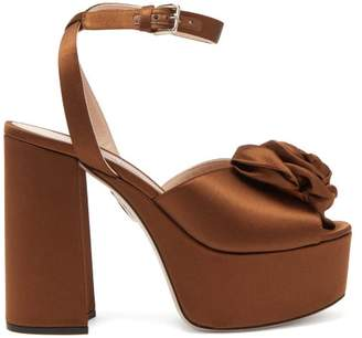Miu Miu Rose Appliqued Satin Platform Sandals - Womens - Brown