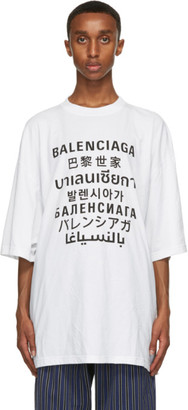 Balenciaga White Languages Medium Fit T-Shirt