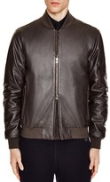 Z Zegna Slim Fit Lambskin Leather Bomber