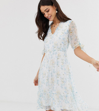 Y.A.S Watercolour Floral Sheer Mini Dress