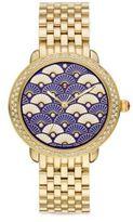 Michele Serein 16 Blue Fan Diamond & Goldtone Stainless Steel Bracelet Watch