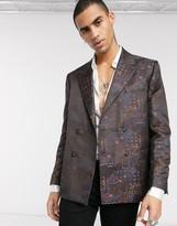 Asos DESIGN wedding boxy double breasted blazer in maroon jacquard