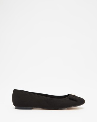 Ted Baker Women's Black Ballet Flats - Sheila Bow Ballerina Flats - Size 40 at The Iconic