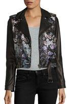 Parker Cooper Floral-Print Leather Moto Jacket