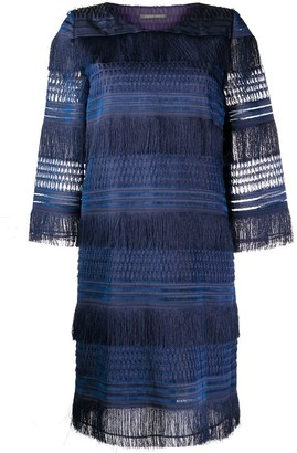 Alberta Ferretti Layered Fringe Dress