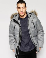 Puffa Caney Coat with Faux Fur Trim Hood