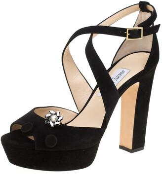 Jimmy Choo Black Suede Janet Cross Strap Platform Block Heel Sandals Size 41