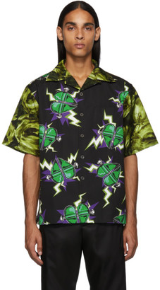Prada Black and Green Universal Studios Edition Frankenstein Double Print Shirt