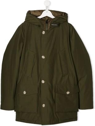 Woolrich Kids TEEN hooded mid-length parka