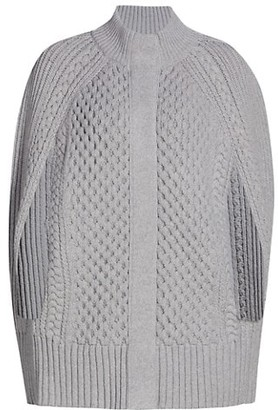Alexander McQueen Cable Knit Wool & Cashmere Cape