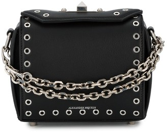 Alexander McQueen Black eyelet Box mini Leather bag