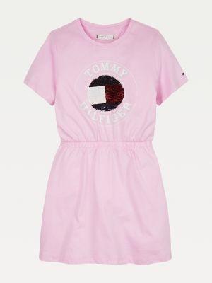 Tommy Hilfiger Organic Cotton Jersey Flip Sequinned Logo Dress