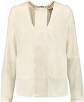 Halston Embellished silk-blend cut-out top