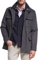 Loro Piana New Traveler Cashmere Stretch Storm System®; Jacket, Smoke