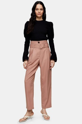 Topshop Rose Pink High Waist Belted Peg Pants