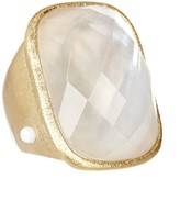 Rivka Friedman 18K Gold Clad Faceted Rock Crystal & Mother of Pearl Rectangular Ring