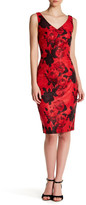 David Meister Floral V-Neck Sheath Dress