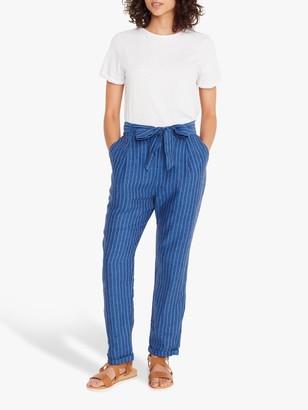 White Stuff Effie Striped Linen Trousers, Dark Navy