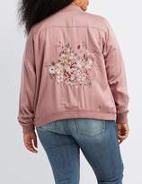 Charlotte Russe Plus Size Embroidered Twill Bomber Jacket