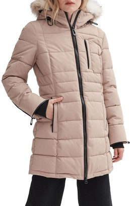 Noize Mid-Length Parka Coat with Removable Hood
