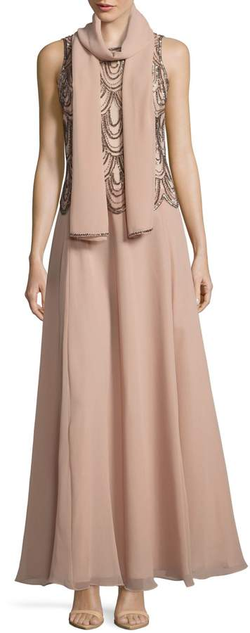 J Kara Scallop Beaded Chiffon Gown with Shawl
