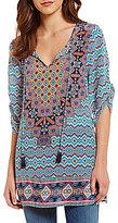 Tolani Elianna V-Neck Tassel-Tie 3/4 Sleeve Printed Silk Tunic