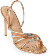 Brian Atwood Metallic Fifi Snake Slingback Sandals
