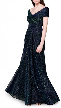 Talbot Runhof Sprinkled Metallic Off the Shoulder Voile Gown