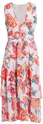 Banjanan Eliza Floral Tier-Skirt Tie-Waist Midi Dress