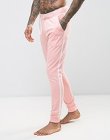 Asos Skinny Jogger In Pink With Side Stripe