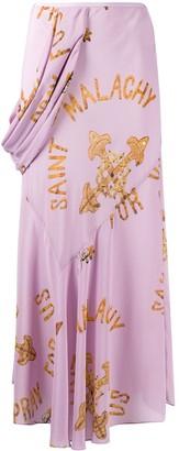 Simone Rocha Saint Malachy print draped silk skirt