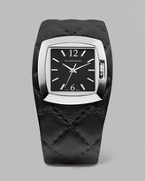Women's Black Quilted Cuff Watch